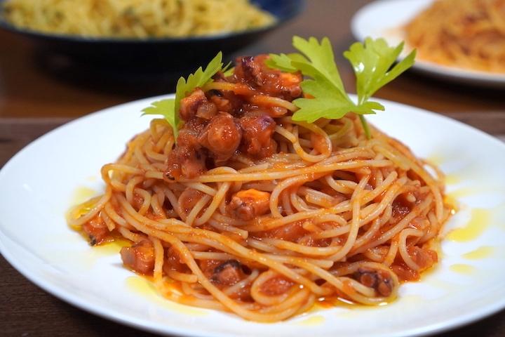 トマト缶で簡単なパスタ、タコのラグーソースパスタはいかが?